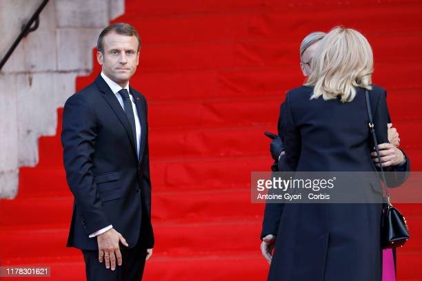 PARIS FRANCE SEPTEMBER 30 French President Emmanuel Macron and her wife Brigitte Macron attends former french President Jacques Chirac's funerals at...