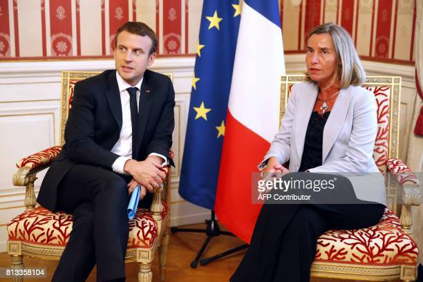 French President Emmanuel Macron and High Representative of the European Union for Foreign Affairs and Security Policy Federica Mogherini hold a...