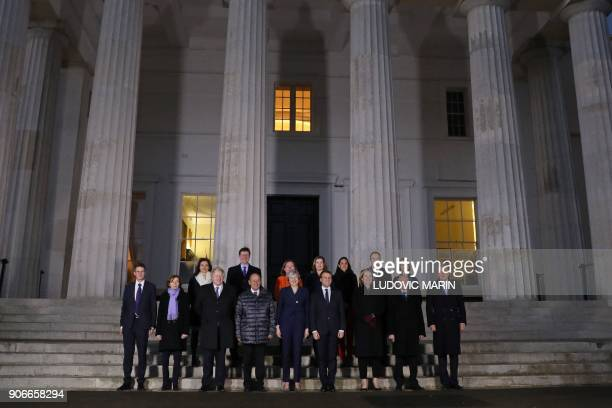 French President Emmanuel Macron and his delegation and Britain's Prime Minister Theresa May and her delegation Britain's Defence Secretary Gavin...