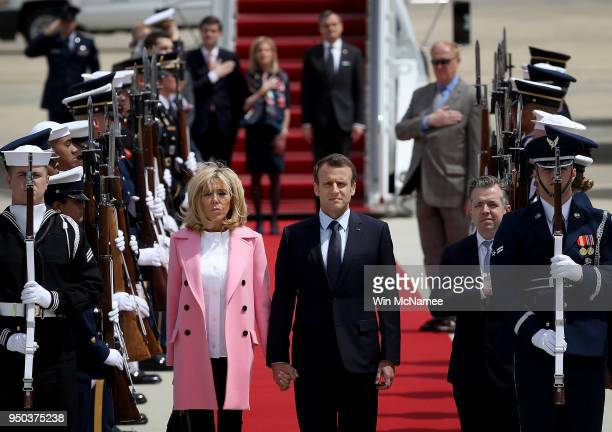 French President Emmanuel Macron and his wife Brigitte arrive at Andrews Air Force Base April 23 2018 at Joint Base Andrews Maryland Macron is in...