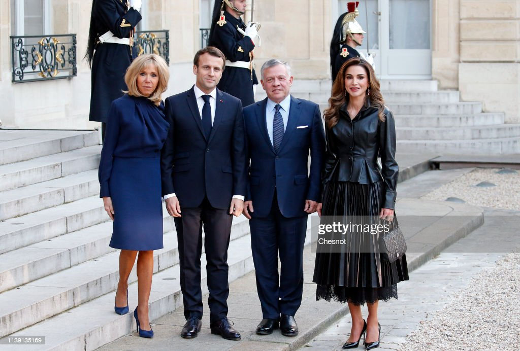 French President Emmanuel Macron Receives King Abdullah II Of Jordan At Elysee Palace In Paris : News Photo