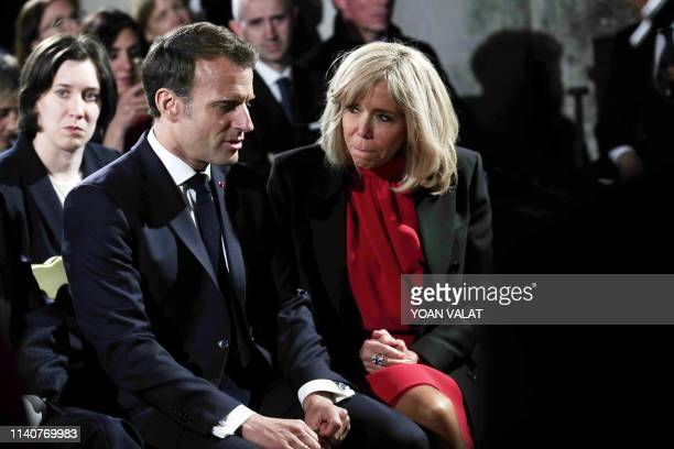 French President Emmanuel Macron and his wife Brigitte Macron attend an event for commemorations of the 500th anniversary of the death of Italian...