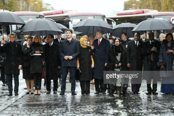 French President Emmanuel Macron and his wife Brigitte Macron Cyprus' President Nicos Anastasiades Canadian Prime Minister Justin Trudeau Turkish...