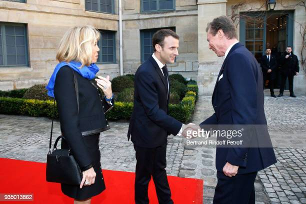 French President Emmanuel Macron and his wife Brigitte Macron welcomed LLAARR GrandDuc Henri of Luxembourg for the French Academy visit by GrandDuc...