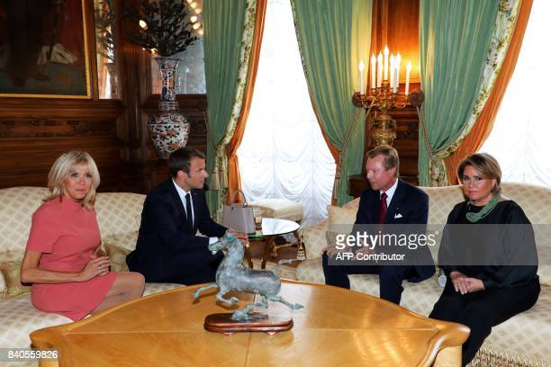 French President Emmanuel Macron and his wife Brigitte Macron meet with Grand Duke of Luxembourg Henri and his wife Maria Teresa Grand Duchess of...