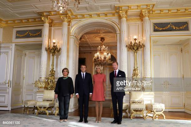 French President Emmanuel Macron and his wife Brigitte Macron meet with Grand Duke of Luxembourg Henri and his wife Maria Teresa Grand Duchess of...