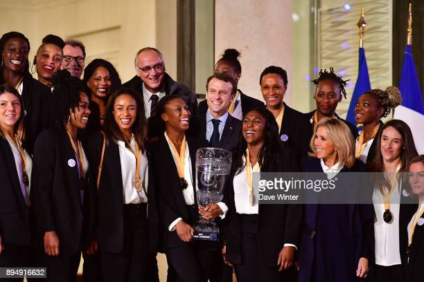 French president Emmanuel Macron and his wife Brigitte Macron plus French minister of sport Laura Flessel and president of the France Handball...