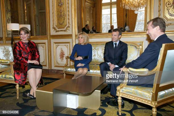 French President Emmanuel Macron and his wife Brigitte Macron receive LLAARR GrandDuc Henri and GrandeDuchesse Maria Teresa of Luxembourg at Elysee...