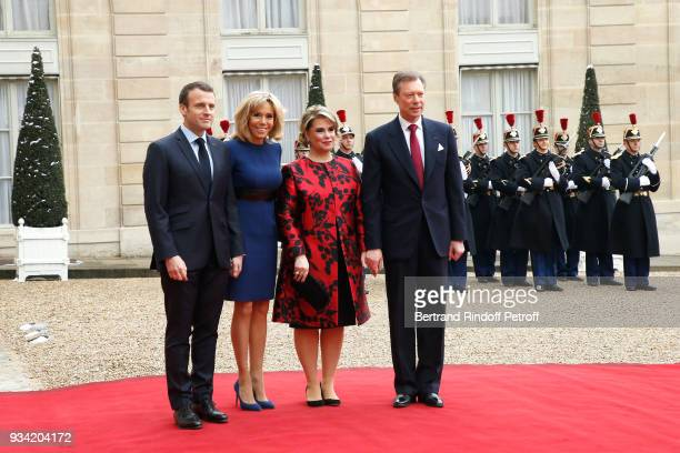 French President Emmanuel Macron and his wife Brigitte Macron receive LL.AA.RR. Grand-Duc Henri and Grande-Duchesse Maria Teresa of Luxembourg at...