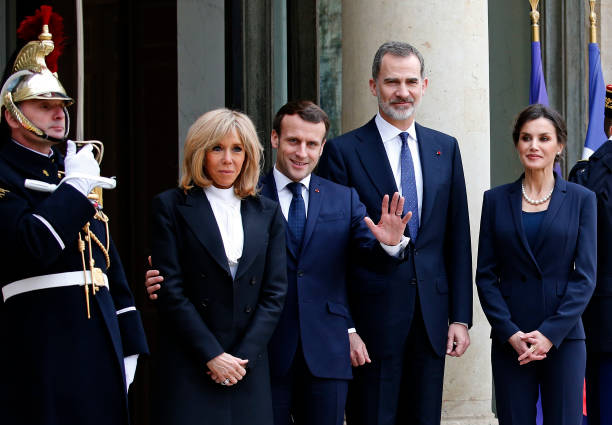 FRA: French President Emmanuel Macron Receives King Felipe Of Spain And Queen Letizia Of Spain At Elysee Palace In Paris