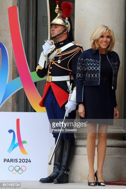 French President Emmanuel Macron and his wife Brigitte welcome guests to celebrate the Olympic Games 2024 in Paris at Elysee Palace on September 15...