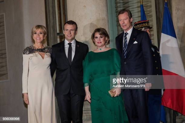 French President Emmanuel Macron and his wife Brigitte welcome their guests for a diner of State in honor of the Grand Duke Henri and the Grand...