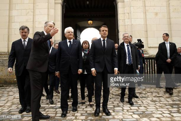 French President Emmanuel Macron and Italian President Sergio Mattarella arrive for the commemoration of the 500th anniversary of the death of...
