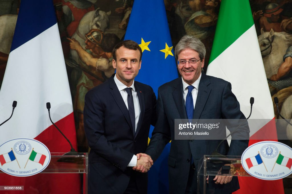 French President Emmanuel Macron Meets With Italy's Prime Minister Paolo Gentoloni : News Photo
