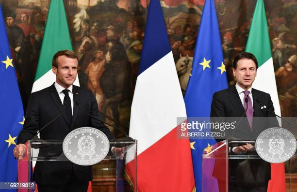 French President Emmanuel Macron and Italy's Prime Minister Giuseppe Conte hold a joint press conference following their meeting on September 18,...