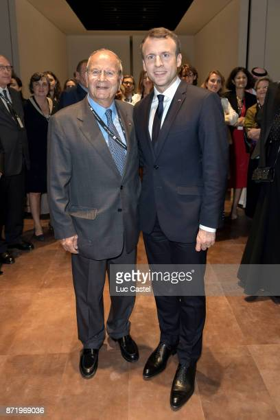 French President Emmanuel Macron and Marc Ladreit de Lacharriere attend The Louvre Abu Dhabi Museum Opening on November 8 2017 in Abu Dhabi United...