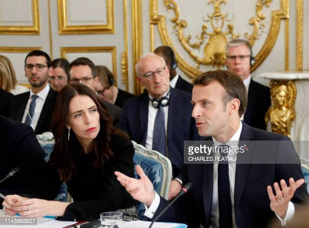French President Emmanuel Macron and New Zealand's Prime Minister Jacinda Ardern attend a launching ceremony for the 'Christchurch call', an...