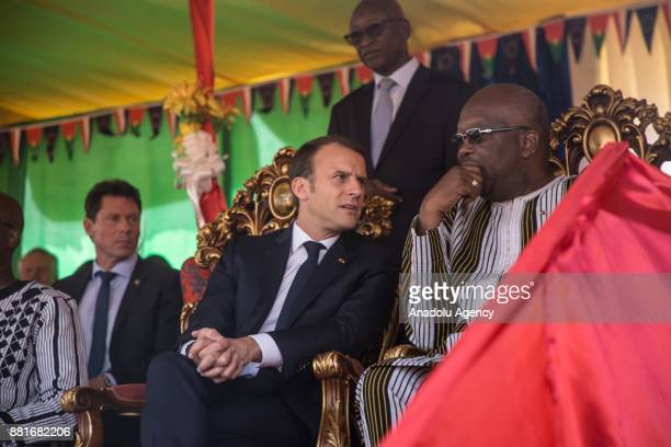 French President Emmanuel Macron and President of Burkina Faso Roch Marc Christian Kabore attend the opening ceremony of a solar energy plant in...