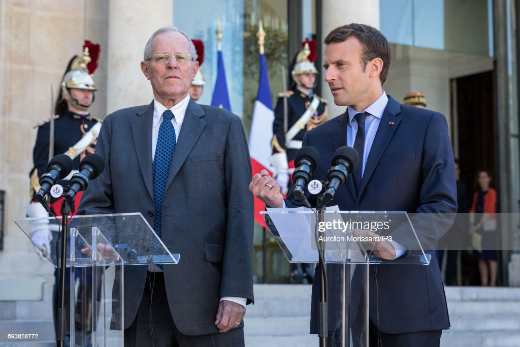 French President Emmanuel Macron (R) and President of the Republic of Peru Pedro Pablo Kuczynski (L) hold a press conference at the Elysee Palace on June 8, 2017 in Paris, France.