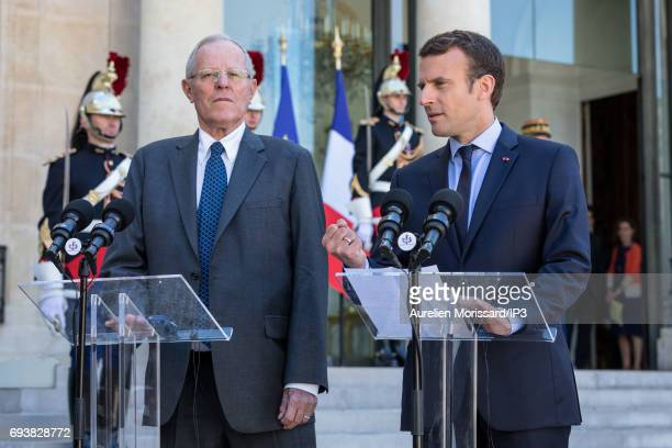 French President Emmanuel Macron and President of the Republic of Peru Pedro Pablo Kuczynski hold a press conference at the Elysee Palace on June 8...