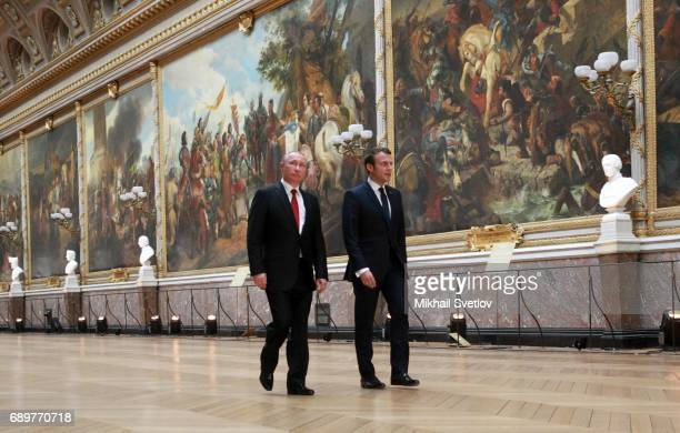 French President Emmanuel Macron and Russian President Vladimir Putin during their meeting on May 2017 in Versailles France Putin is visiting France...
