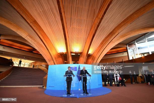 French President Emmanuel Macron and Secretary General of the Council of Europe Thorbjorn Jagland give a joint press conference at the Council of...