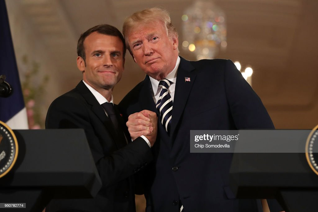 President Trump And French President Macron Hold Joint News Conference In East Room : News Photo