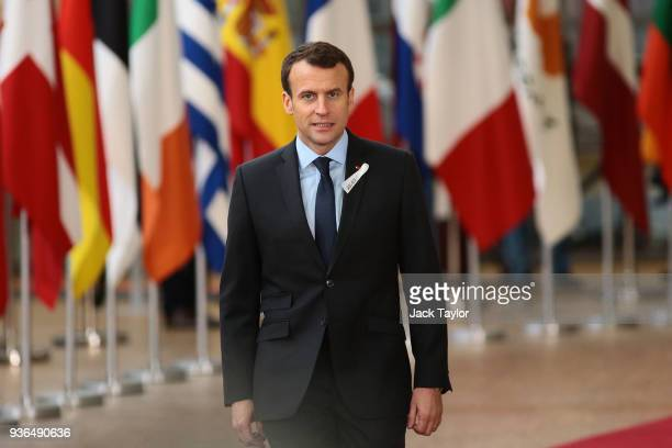 French President Emmanuel Macron arrives at the Council of the European Union for the first day of the European Council leaders' summit at the Europa...
