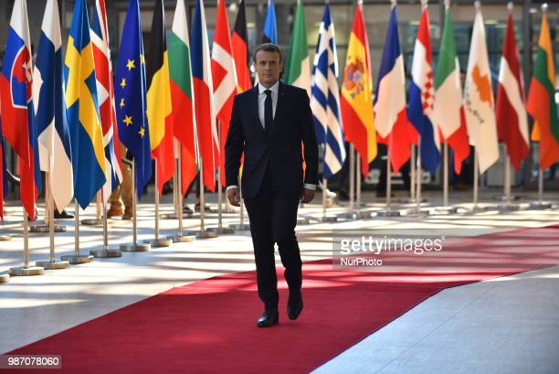 French President Emmanuel Macron arrives at The European Council summit in Brussels on June 28 2018 European Union leaders meet today for the twoday...