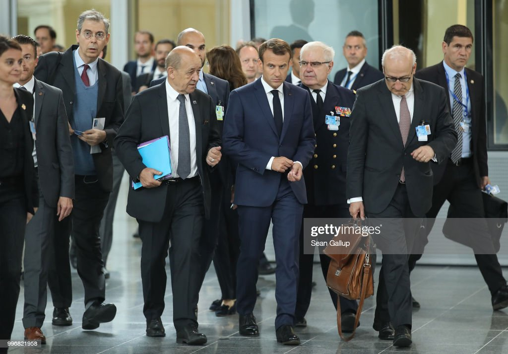 French President Emmanuel Macron arrives for a working session of NATO leaders and the delegations from Ukraine and Georgia at the 2018 NATO Summit on July 12, 2018 in Brussels, Belgium. Leaders from NATO member and partner states are meeting for a two-day summit, which is being overshadowed by strong demands by U.S. President Trump for most NATO member countries to spend more on defense.
