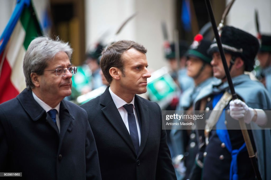 French President Emmanuel Macron Meets With Italy's Prime Minister Paolo Gentoloni
