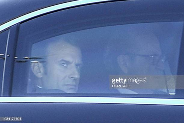 French President Emmanuel Macron arrives to attend a summit at Vahdettin Mansion in Istanbul on October 27 called to attempt to find a lasting...