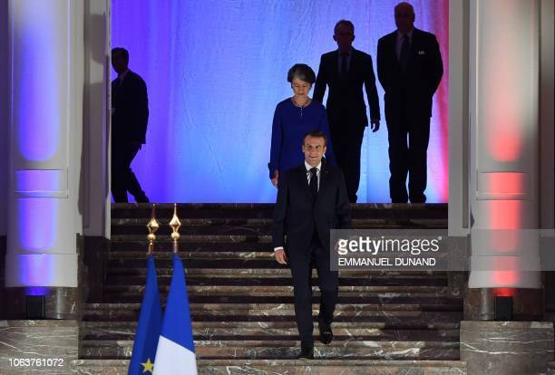 French President Emmanuel Macron arrives to deliver a speech during a Frenchspeaking community reception at the BOZAR Centre for Fine Arts in...
