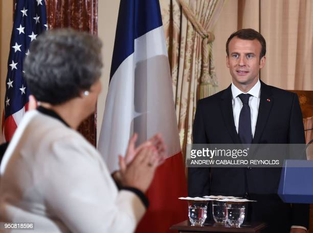 French President Emmanuel Macron arrives to speak during a luncheon at the US State Department in Washington DC on April 24 2018