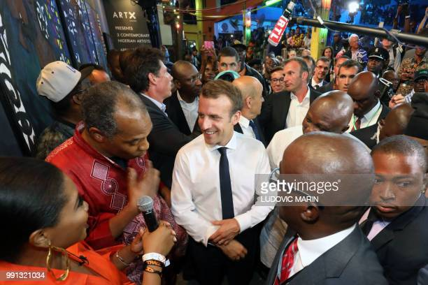 French President Emmanuel Macron arrives to take part of a live show in the Afrika Shrine in Lagos on July 3 2018 French President Emmanuel Macron...