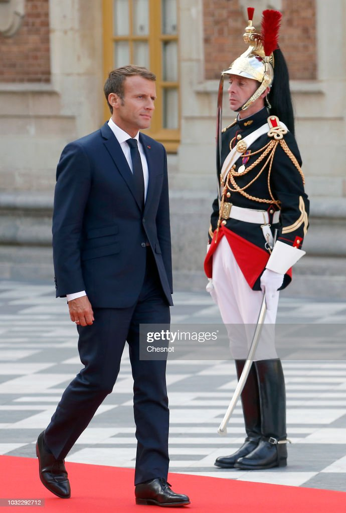 French President Emmanuel Macron Receives Crown Prince Naruhito Of Japan At Chateau De Versailles