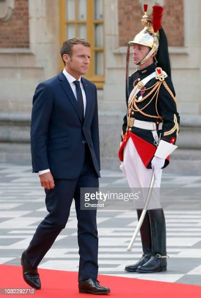 A red carpet has been set in the courtyard of the Versailles Palace ahead of the arrival of Japan's Crown Prince Naruhito for a meeting with French...