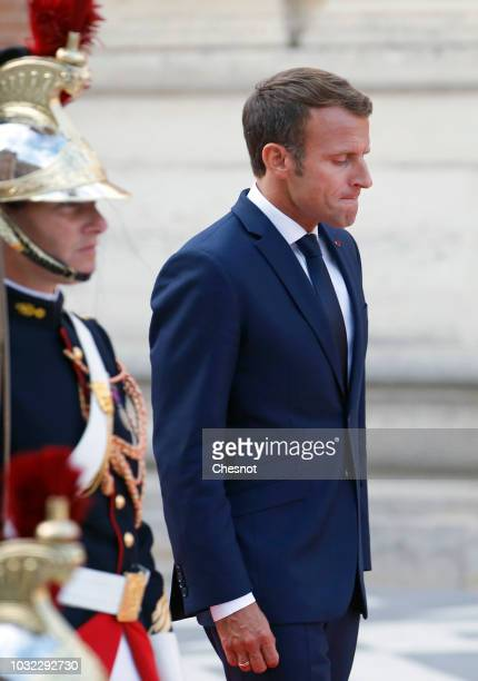 French President Emmanuel Macron arrives to welcome Japan's Crown Prince Naruhito prior to their meeting at the Chateau de Versailles on September 12...