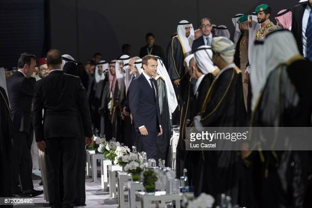 French President Emmanuel Macron attend The Louvre Abu Dhabi Museum Opening on November 8 2017 in Abu Dhabi United Arab Emirates