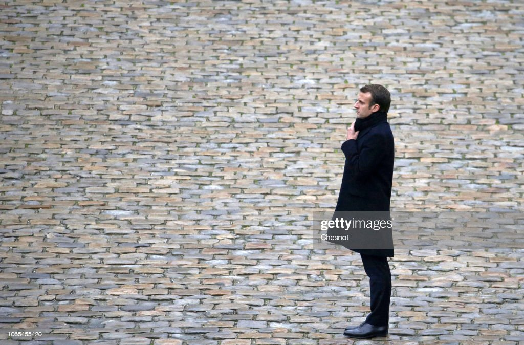 French President Emmanuel Macron Attends 'La Prise D'Armes -Review Of The Troops' Ceremony At Hotel Des Invalides In Paris : News Photo