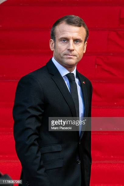 French President Emmanuel Macron attends former french President Jacques Chirac's funerals at Eglise Saint-Sulpice on September 30, 2019 in Paris,...