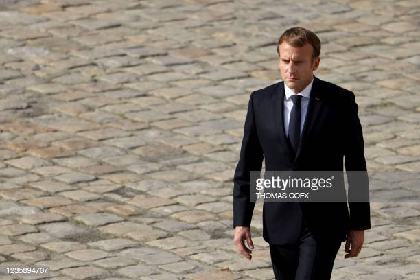 French President Emmanuel Macron attends the national memorial service for Hubert Germain - the last surviving Liberation companion - at The Hotel...
