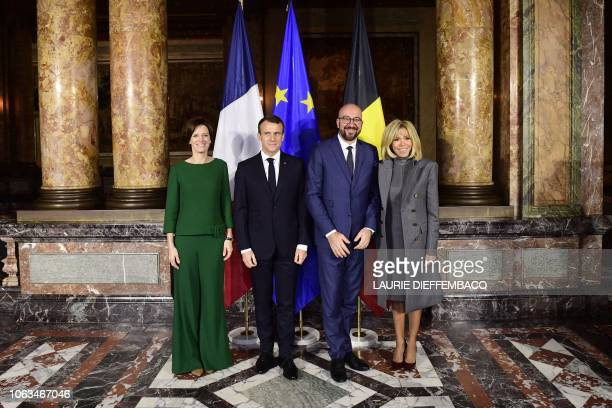 French president Emmanuel Macron Belgium Prime minister Charles Michel his partner Amelie Derbaudrenghien and French first lady Brigitte Macron pose...