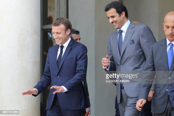 French President Emmanuel Macron bids farewell to Qatar Sheikh Tamim bin Hamad Al Thani at the Elysee palace on July 6 in Paris