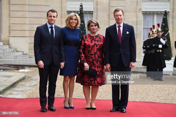 French President Emmanuel Macron Brigitte Macron Maria Teresa Grand Duchess of Luxembourg and Henri Grand Duke of Luxembourg pose in the courtyard of...