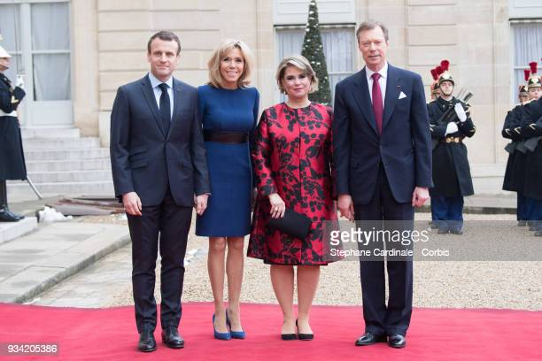 French President Emmanuel Macron Brigitte Macron Maria Teresa Grand Duchess of Luxembourg and Henri Grand Duke of Luxembourg pose in the courtyard of...