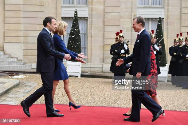 French President Emmanuel Macron Brigitte Macron Maria Teresa greet Grand Duchess of Luxembourg and Henri Grand Duke of Luxembourg in the courtyard...