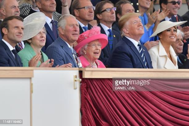 French President Emmanuel Macron Britain's Prime Minister Theresa May Britain's Prince Charles Prince of Wales Britain's Queen Elizabeth II US...