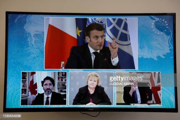 French President Emmanuel Macron , Canadian Prime Minister Justin Trudeau , Norwegian Prime Minister Erna Solberg and Britain's Prime Minister Boris...
