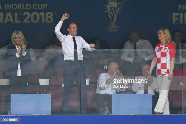 French President Emmanuel Macron celebrates after his team's fourth goal during the 2018 FIFA World Cup Final between France and Croatia at Luzhniki...